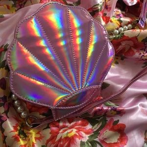 Holographic Pink Sea Shell purse