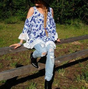 Tops - Boho Blues floral cold shoulder top