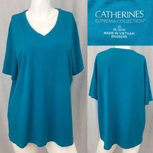 Catherines Tops - 🌴Sz 1X Catherine's Blue V-Neck Short Sleeve Top