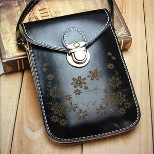 Mini Cross-Body Black Phone Wallet Purse/New