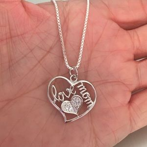 Jewelry - Sterling Silver CZ LOVE MOM Necklace