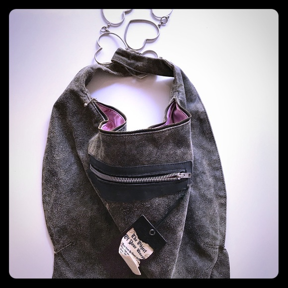 91fa0710a650 Funky Grail Leather Bag with Metal strap of Hearts