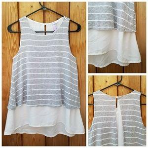 Francesca's Alya Grey & White Striped Overlay Top