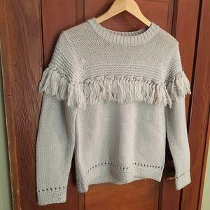 Reclaimed Vintage Sweaters - VTG | Gray Fringe Sweater