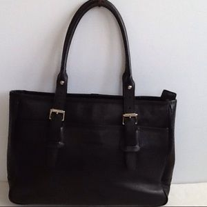Authentic Burberry Black Leather Tote Shoulder Bag