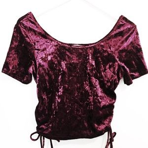 LA Hearts Tops - New LA Hearts burgundy velvet Crop Top