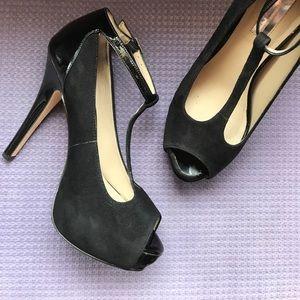 T-Strap velvet and patent peep toe heels