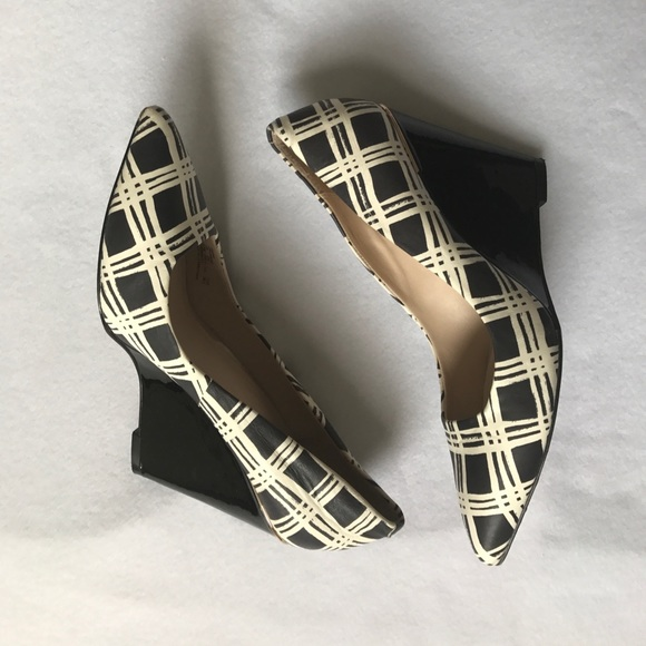 53 coach shoes coach black and white wedge heel