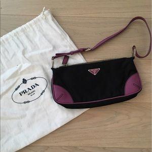 Prada Nylon & Leather Pouchette Bag