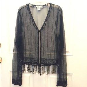 Sheer black beaded jacket or sweater L detailed