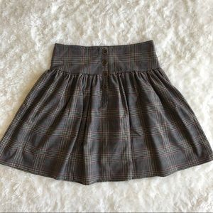 Zara Basic Plaid Swing Skirt with Buttons