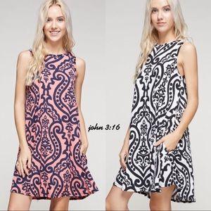 Boutique Dresses & Skirts - Sleeveless damask dress