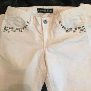 White Express denim with silver studs