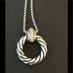 David Yurman Jewelry - David Yurman Diamond Metro Circle Pendant Necklace