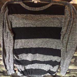 Liz Lange maternity shirt grey and black stripes