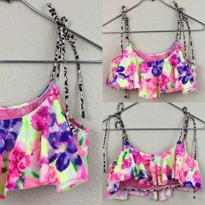 Victoria's Secret pink floral flounce bikini top