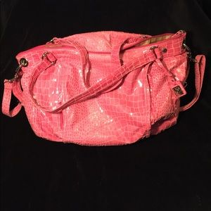Handbags - Pink gator skin print purse bag
