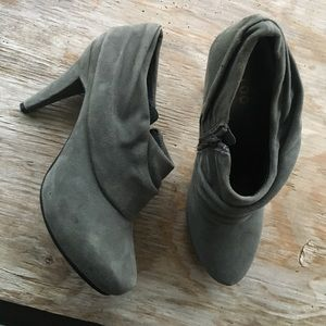 me too Shoes - Grey suede ankle booties.