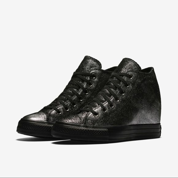 d34e6ff7bced Converse Shoes - Converse lux wedge sneakers in black and silver