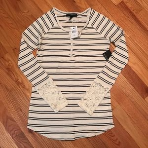 Wendy Bellissimo Tops - NWT long sleeve striped Henley with lace cuffs