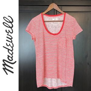 Madewell Red Striped Linen Tee