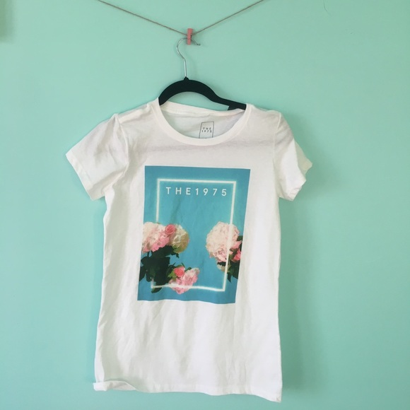 The 1975 Blue Floral Spring Tour 2016 White T Shirt New Official Band Merch