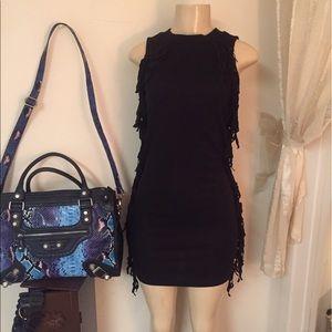 Black Short Dress with self fringe on sides- CHIC