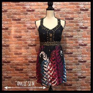 Angie Dresses & Skirts - Angie Metal Studded Floral Design Dress