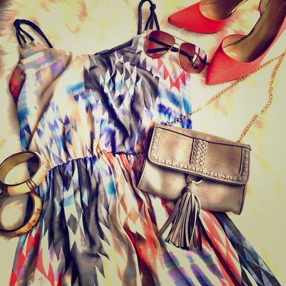 Dresses & Skirts - Aztec kilim print high low maxi dress XS, 0