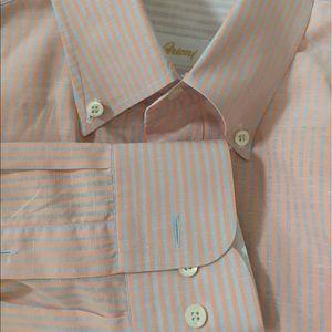 Brioni Other - Brioni Shirt Cotton/Linen Blend Peach/Gray