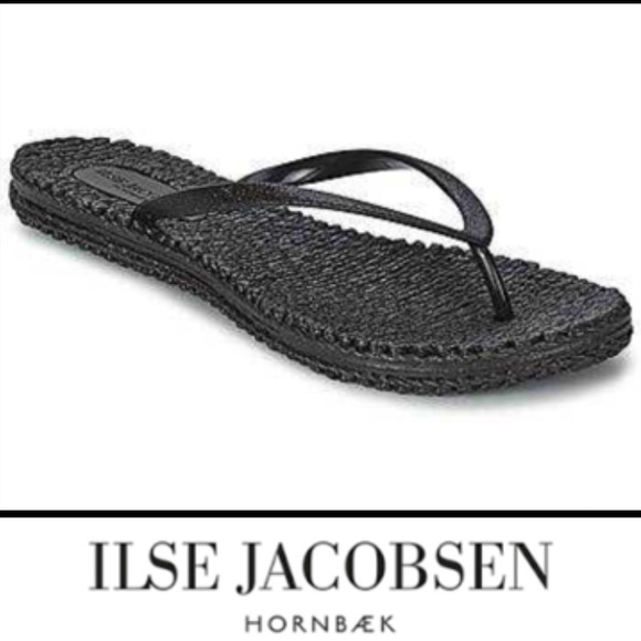 c49f144cd66a3 NWT Ilse Jacobsen Black Cheerful Glitter Flip Flop