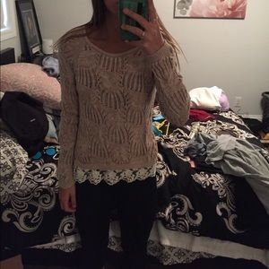 cream sweater with lace trim