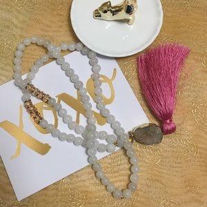 Handmade beaded tassel necklace with druzy stone