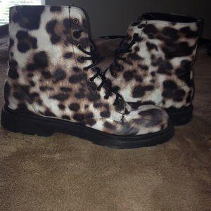 Shoes - Cheetah Print Lace up Combat Boots