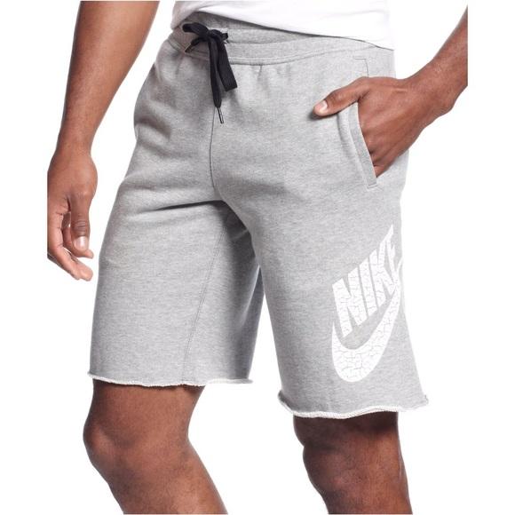 Nike men's aw77 fleece sweat shorts heather grey