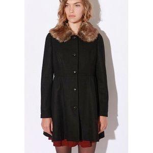 Cooperative Jackets & Blazers - Black Pea Coat w/ Removable Faux Fur Collar size M