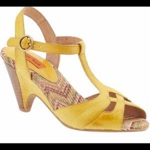 Miz Mooz Shoes - Miz Mooz Waltz Yellow Retro Wedge Sandal Sz 7