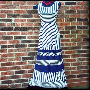 NEW 'RARE' PETER SOM Small Blue Striped Maxi Dress