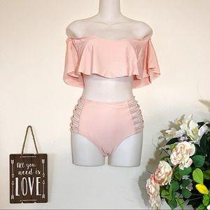Other - NEW Pink Ruffle Top Off Shoulder Hi Waisted Bikini