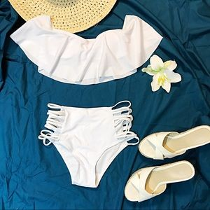 Other - NEW White Ruffle Top Off Shoulder Bikini