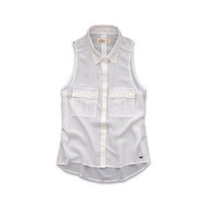 Holliester rockpile chiffon sleeveless shirt white