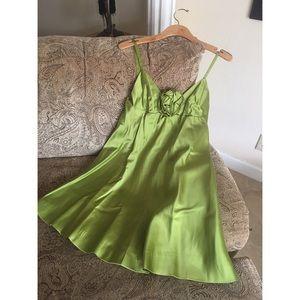 Vintage 1960's mod mini lime green prom dress