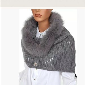 New Moncler Fox Fur Hooded Shawl - 100% Authentic