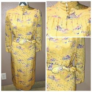 Japanese Vintage Dresses & Skirts - Silk Vintage Japanese Yellow Hand Painted Dress