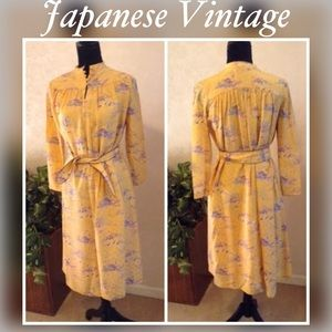 Silk Vintage Japanese Yellow Hand Painted Dress