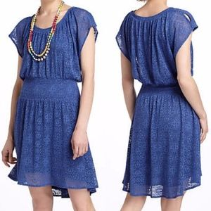 Leifnotes Anthropologie Smocked Blue Lace Dress