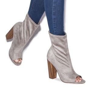 Gray faux suede peep toe bootie