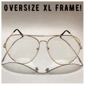 Accessories - Oversize XL Gold Clear Lens Glasses