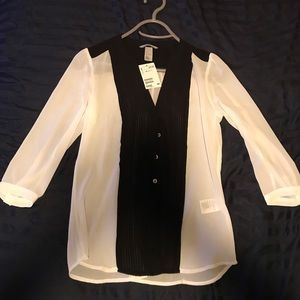 H & M Black and white sheer blouse