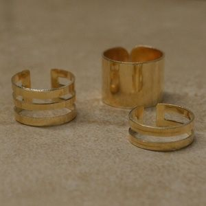Jewelry - Back In! New Set of 3 Gold Stacking Cuff Rings